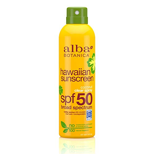 Alba Botanica Coconut Oil Hawaiian Clear Spray SPF 50 Sunscreen, 6 oz.