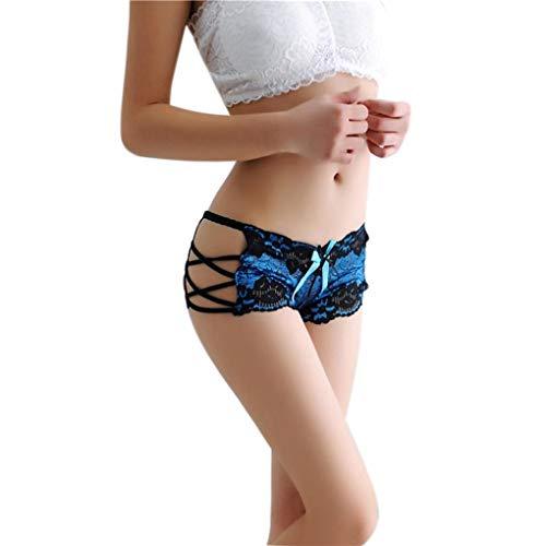 scaling♥Underwear Women Cotton ♥Women Sexy Lace Briefs Panties Thongs G-String Lingerie Underwear (Blue, Free)