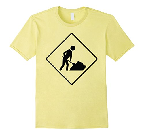 Mens Men Working Road Sign Halloween Costume TShirt Construction 2XL Lemon