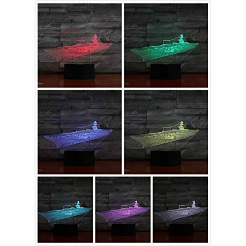 LQZN Night Light Warship Led Night Light Decoration 3D Illusion Military Ship Childrens Kids Nightlight Gifts Table Lamp Aircraft Carrier Bedroom (Unbelievable Military Aircraft)