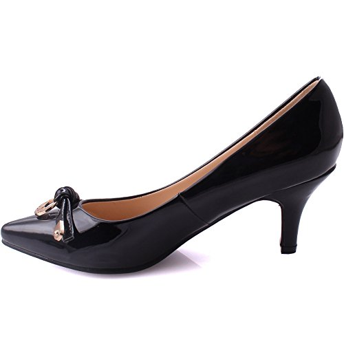 Unze Women Vera Tousled Knot Evening Dinner Ladies Patent Finish Soiree Slip On Carnival Mid-High Heel Courts UK Size 3-8 Black rsL6FfU