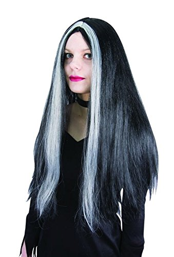 P'tit Clown 11501 Witch Wig Black with White Wicks One Size