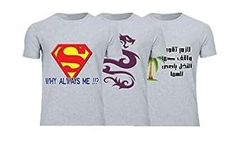 Geek ET1791 Set Of 3 T-Shirt For Men-Grey, Medium
