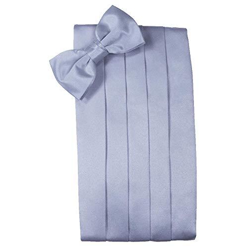 - Men's Solid Satin Cummerbund & Bow Tie Set - Many Colors (Periwinkle)