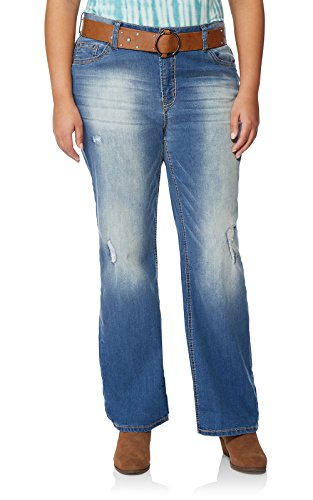 WallFlower Plus Size Belted Luscious Curvy Bootcut Jeans in Brodie, 20 Plus (Stretch Cotton Belted)