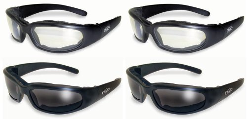 4 Black Frame Motorcycle Riding Glasses Sunglasses Day and Night 2 X Smoke and 2 X Clear Lens Has EVA Foam Padding to Protect Against Wind and Dust Shatterproof Polycarbonate Lenses Also Great for ATV Quad Cycling Running Jogging Airsoft Paintball Sports Outdoors New