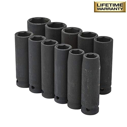 Husky 1/2 in. Drive Metric Deep Impact Socket Set (11-Piece)