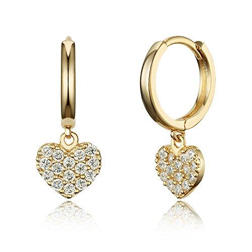 14k Gold Plated Brass Heart Plain Huggy Baby Girls Hoop Earrings