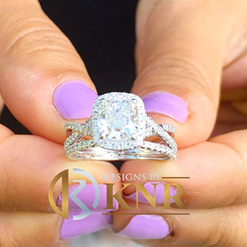 14k Solid White Gold Cushion Cut Simulated Diamond Engagement Ring And Band Bridal Set Wedding Set Halo Twisted Shank 2.50ct (Cut Cushion Diamond)