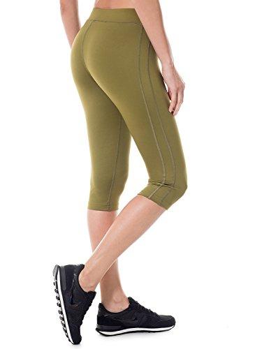 SYROKAN - Pantalón Pirata de Fitness Running Yoga para Mujer Verde oliva