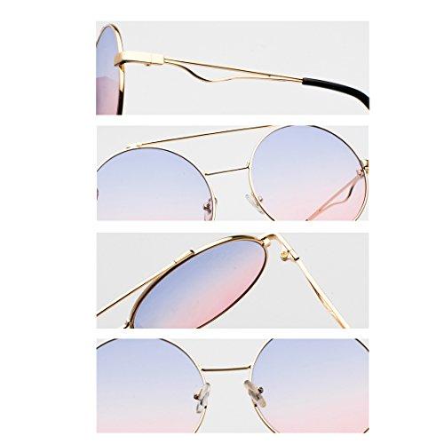 mujeres 60 color Y Gafas delgado Hombres a Metal redondas plana Aiweijia Plata Marco y lente mm xOApnE