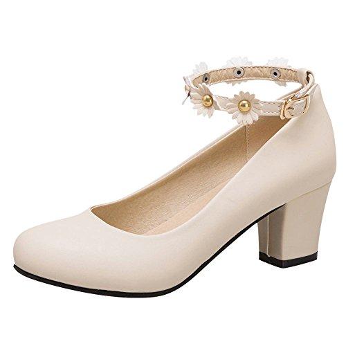 MissSaSa Damen Ankle Strap Blockabsatz Leder-Pumps Beige