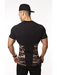 Camo Muscle T-Shirt Fitted Lightweight Snug Slim Fit Gym Workout Soft Stretch Moisture Dri-Fit