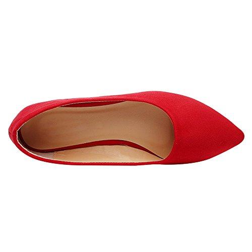 Puntiaguda Bailarinas de Vestir Mujer Plano Bailarinas Rojo Minimalista Clásico Bombas Punta de Jamron Ballet ITtx1Hq1