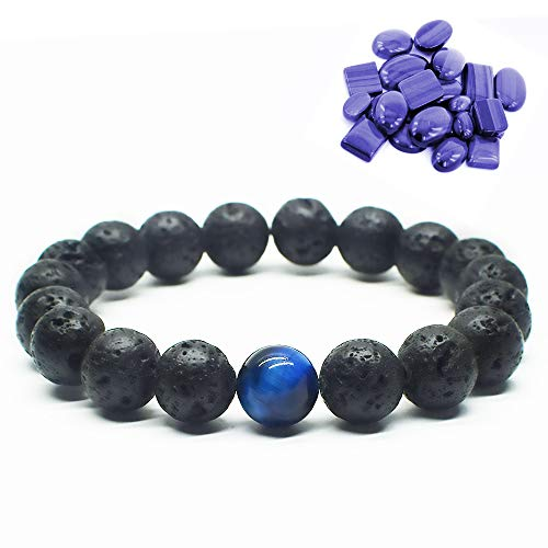 Blue Cat Eye Lava Stone Diffuser Bracelet Tiger Eye Bracelet Genuine Nature Lava Bead Bracelet Durable Elastic Bracelet Yoga Bracelet Relax, Balance, Energy Reiki Bracelet for Men/Women