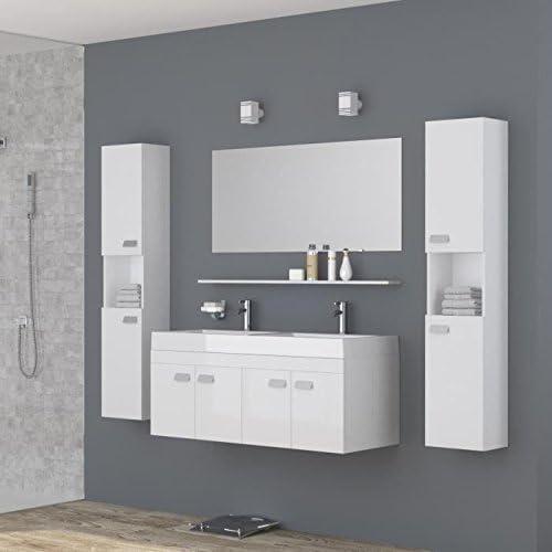 ALPOS Salle de bain complete double vasque 120 cm - Laqué ...
