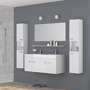 ALPOS Salle de bain complete double vasque 120 cm - Laqué blanc ...