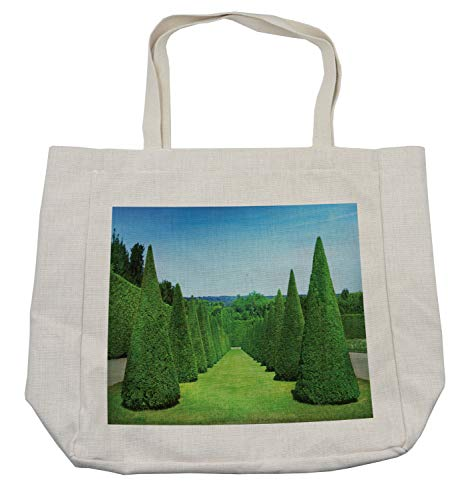 Lunarable Boxwood Hedge Shopping Bag, French Garden Art Conical Hedges Lines from Versailles Chateau, Eco-Friendly Reusable Bag for Groceries Beach Travel School & More, Cream