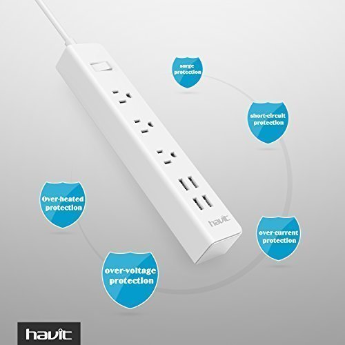 HAVIT USB Power Strip/PowerPort Strip, with 4-Port USB Charging Stations and 3 AC Outlets Plus, Home/Office Surge Protector with 5ft Cord for Smartphone and Tablets[New Version] by Havit (Image #4)