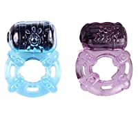 Vibrating Five Speed Cock Ring Set Clit Stimulation Firm Stay Hard Male Enhancer (2PC)