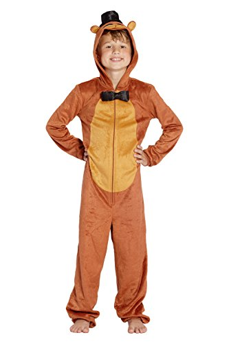 Five Nights at Freddys Boys Freddy Fazbear Costume One Piece Pajamas Union Suit (Brown, ()