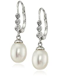 10k Gold Diamond Accent and Freshwater Cultured-Pearl Drop Earrings