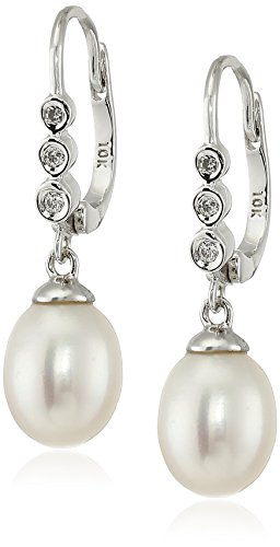 10k White Gold Freshwater Cultured Pearl (9.5-10 mm) and Diamond Drop Earrings