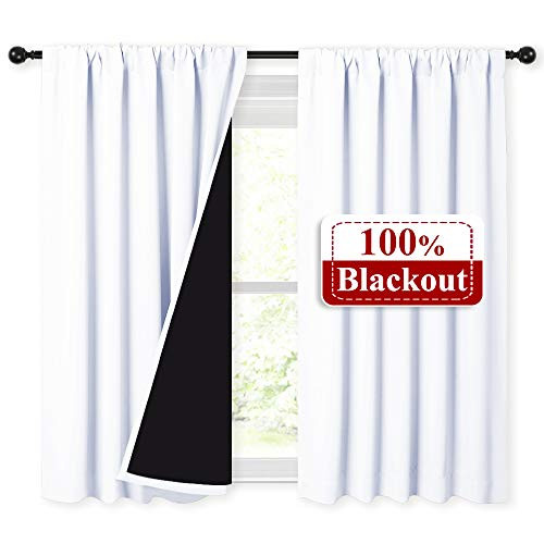 NICETOWN White 100% Blackout Curtains 45 Inches Long, Rod Pocket Basement Completely Blackout Window Treatment Thermal Insulated Lined Drapes for Small Window (1 Pair, 52