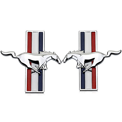 (1Pair Metal Mustang Car Side Fender Rear Trunk Emblem Badge Sticker Decals for Ford Mustang)