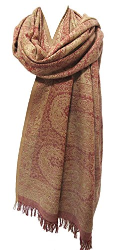 Antique Paisley Silk Merino Wool Shawl Scarf Wrap Throw Rose Pink Beige