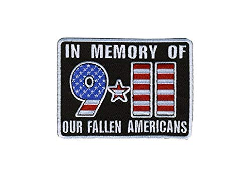"""Hot Leathers, IN MEMORY OF 911 OUR FALLEN AMERICANS, Iron-On / Saw-On, Heat Sealed Backing Rayon 9-11 PATCH - 4"""" x 3"""""""