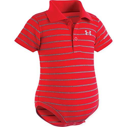 - Under Armour UA Stripe Polo Bodysuit - Newborn 3/6M Red