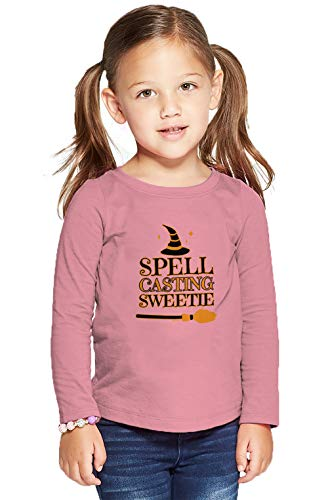HAASE UNLIMITED Spell Casting Sweetie - Witch Witchcraft Long Sleeve Toddler Cotton Jersey Shirt (Light Pink, 4T)