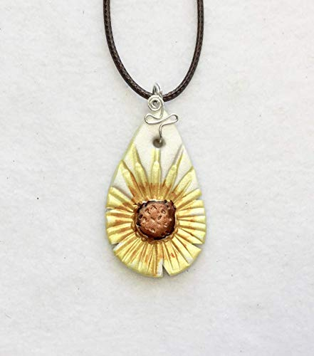 Yellow Brown White Daisy Pendant Handcrafted Polymer Clay Alcohol Inks Dark Brown Braided Adjustable Cord Lightweight for You ()