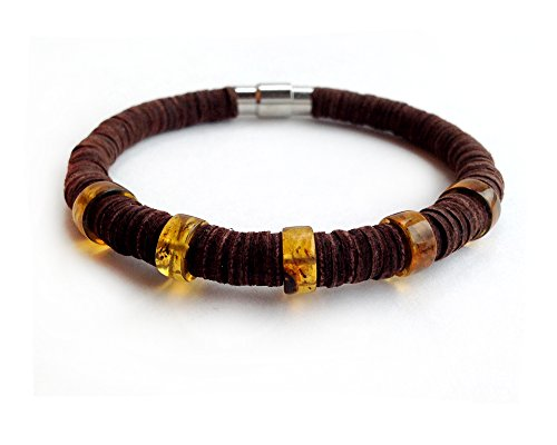Leather Bracelet with Amber Inserts on Metal Magnetic Clasp