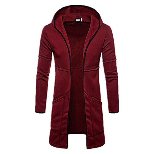 Alimao 2019 New Hooded Coat Cardigan Sweaters for Men Solid Trench Jacket Outwear Blouse (Medium, Wine Red - 15) ()