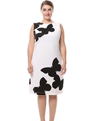 Buy black white print dress - 8