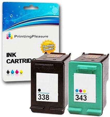 Printing Pleasure 2 Compatibles HP 338 & HP 343 Cartuchos de Tinta ...