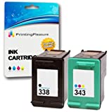 Printing Pleasure 2 (FULL SET) Remanufactured Ink Cartridges Replacement for HP 338 343 Photosmart 8150 C3180 DeskJet 460 460c OfficeJet 100 150 6210 7310 H470 PSC 2355 - Black/Colour, High Capacity