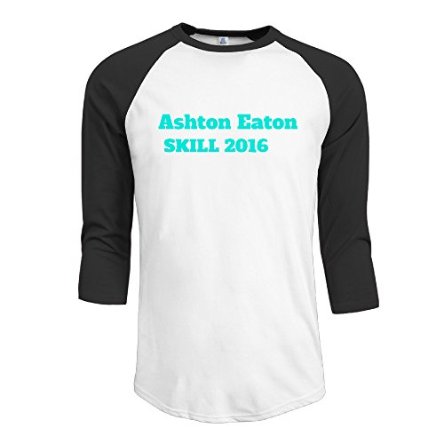 Print 3/4 Sleeve Raglan Male Antibacterial Tee-Shirt with Ashton Eaton Black