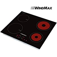 WINDMAX 23.5 Black Ceramic Induction Hob 4 Burners Stove Cooktop 240V Household Cooker
