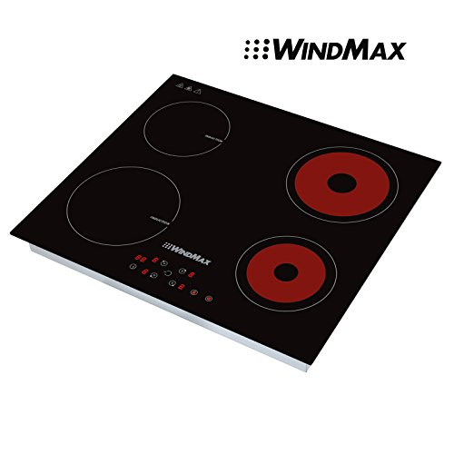 WINDMAX 23.5'' Black Ceramic Induction Hob 4 Burners Stove Cooktop 240V Household Cooker