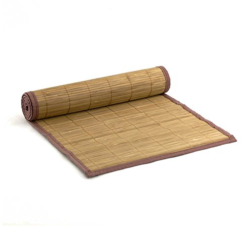 1x - BambooMN Brand Bamboo Slat Table Runner - Brown with Brown