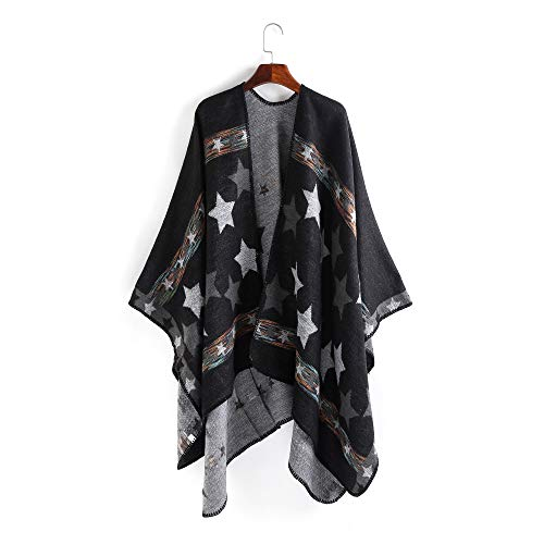Women's Oversized Blanket Poncho Winter Open Front Cape Warm Shawls and Wraps Fashion Long Cardigan Sweaters (Series 3- black)