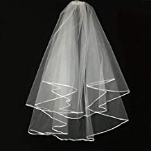 Wedding Veil Ivory,Two Tier Ribbon Edge Center Cascade Bridal Wedding Veil with Comb By Korty