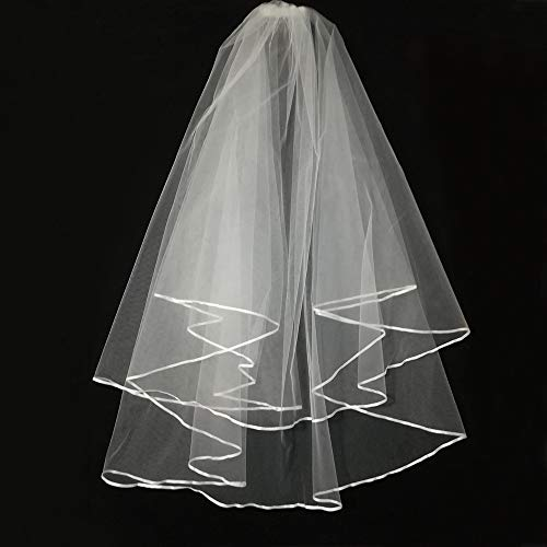 (Wedding Veil White,2 Tier Ribbon Edge Center Cascade Bridal Wedding Veil with Comb By Korty)