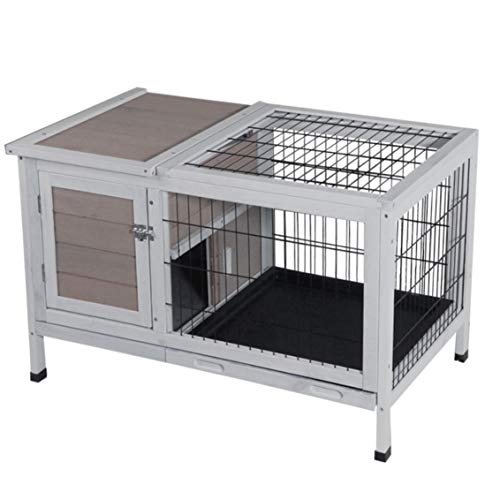 ROCKEVER Small Animals Cage Wood for One-Two Rabbits, Guinea Pigs Cage Small Indoor with Pull Out Tray Grey (Rabbit Indoor Cage)