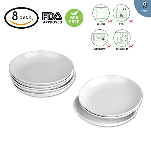 9-inch Porcelain Pasta/Salad Bowls,White Soup Bowl Set, Wide & Shallow, Set of 8 - Spiral Pattern ()