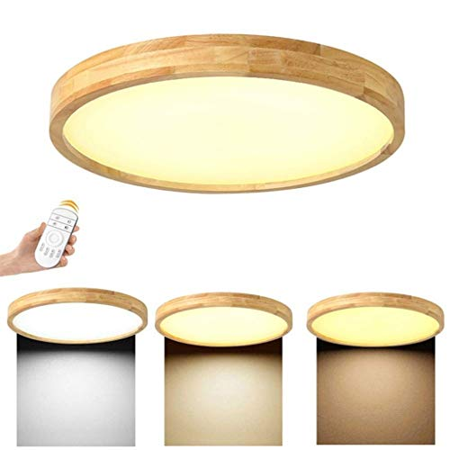 JYKJ LED Ceiling Light Dimmable 36W Ceiling Light, Remote Control Wooden Ceiling Light, Nordic Modern Round Wood Lamp Restaurant, Bedroom, Living Room, Office Children's Decorative Ceiling Light [Ener (Cloud Wood Ceiling)