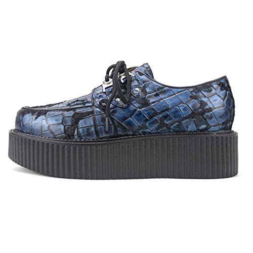 Homme Affaires Chaussures Plateaforme Cuir Punk Oxfords Bleu Creeper Lacets HAwfWAYr